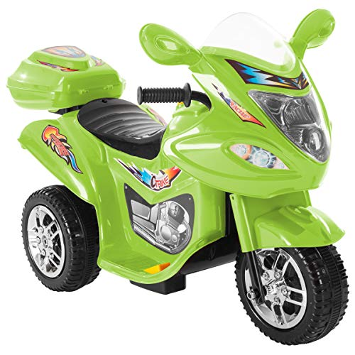Lil' Rider Ride-On Toy Trike Motorcycle -Battery Operated Electric Tricycle for Toddlers with Built-in Sound and Working Headlights (Green) -