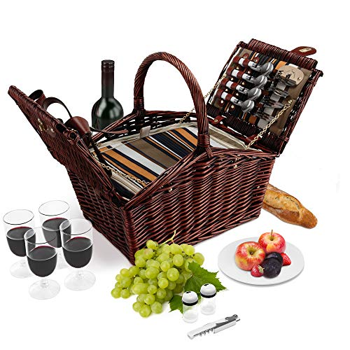 - Wicker Picnic Basket | 4 Person Deluxe Double Lid Style Woven Willow Picnic Hamper | Built-In Cooler | Ceramic Plates, Stainless Steel Silverware, Wine Glasses, S/P Shakers, Bottle Opener (Dark Brown)