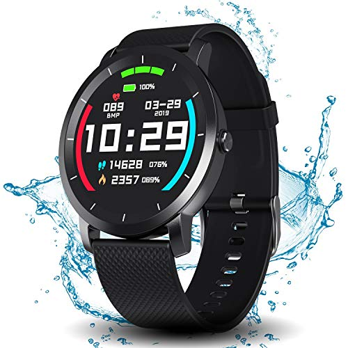 Smart Watch with Connected GPS, IP68 Waterproof Digital Smart Fitness Watches for Man Woman, Activity Tracker with Heart Rate and Blood Pressure Monitor Compatible with Android and iOS