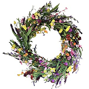The Wreath Depot Canterbury Spring Door Wreath 24 Inches, Beautiful Front Door Wreath Enhances Spring Decor, White Storage Gift Box Included 55