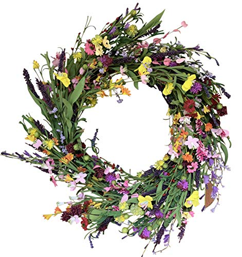 (The Wreath Depot Canterbury Spring and Summer Door Wreath 24 Inches, Beautiful Front Door Wreath, White Storage Gift Box Included)