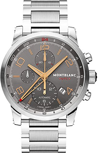 Mont Blanc Skeleton - Montblanc Timewalker ChronoVoyager UTC Men's Stainless Steel Swiss Automatic Watch 107303