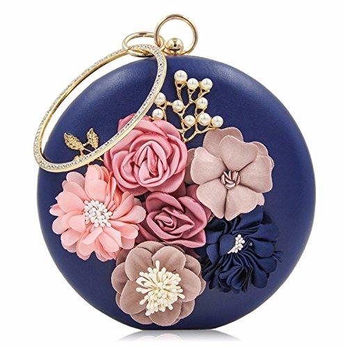 Borse giorno delle nozze e del signore borse Pochette delle di Blue donne Royal delle di borsa della borsa Clutch Donna frizioni Clutch delle fiore della x8tZ57