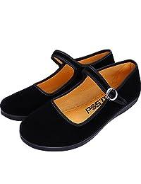 PESTOR Women's Velvet Mary Jane Shoes Ballerina Ballet Flats Yoga Exercise Dance Shoes