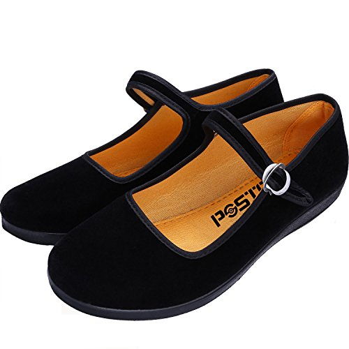 pestor Women's Velvet Mary Jane Shoes Ballerina Ballet Flats Yoga Exercise Dance Shoes (US 7) Black