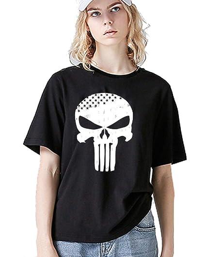 c89ec294e ZHIQUYI Women's Distressed Punisher Skull T-Shirt Funny Graphic Cute Junior  Tee(Black)