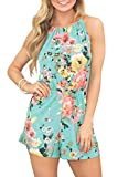Spadehill Women Summer Sleeveless Halter Short Pants Rompers Strap Backless Playsuit Cotton Floral Beach Jumpsuit Green S