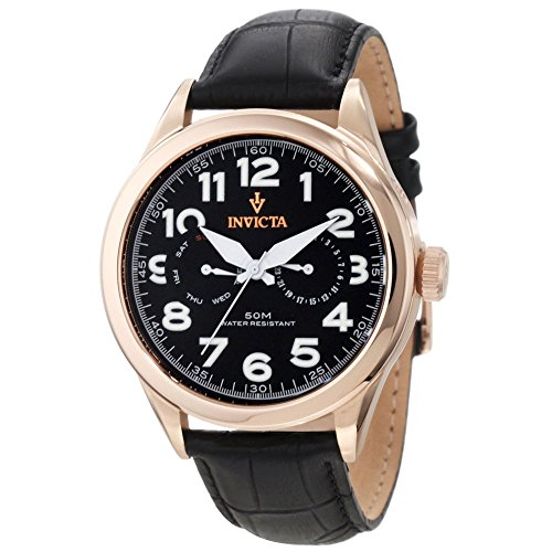 Men's  Vintage Master Rose Gold-Tone Stainless Steel Watch with Black Leather Band - Invicta 11742