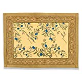 Couleur Nature Olive Tree Mats, 15-inches by 18-inches, Gold/Blue, Set of 6