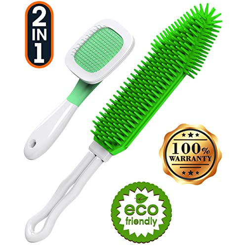DollyPets Pet Hair Remover and Slicker Pet Grooming Brush- for Auto Car Clothes Great On Furniture Dogs Cats Hair&Lint Remover Brush 2 Count