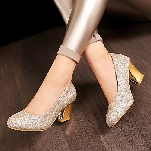 MissSaSa Damen elegant Chunky high heel Low cut glitzer Pumps Gold