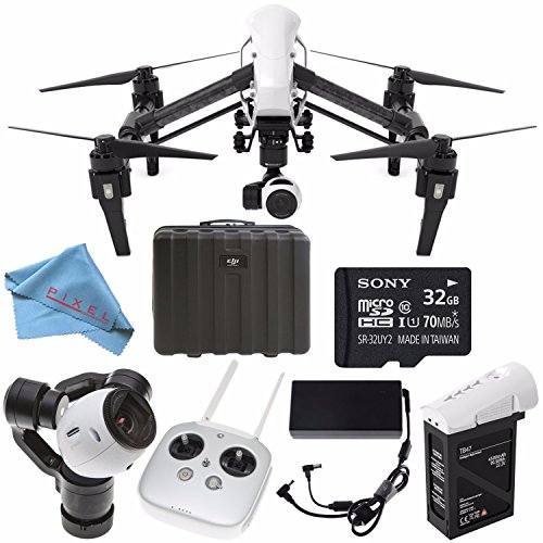 DJI Inspire 1 v2.0 Quadcopter 4K Camera 3-Axis Gimbal (Certified Refurbished) + 32GB microSDHC Card + Fibercloth Bundle