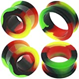 (US) 7/8 inch 22mm gauges plugs flesh tunnels double flare spiral taper rasta silicone MoDTanOiz 7/8 22mm
