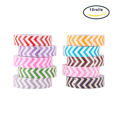 PandaHall 10 Rolls Single Face Wave Pattern Printed Cotton Ribbon Adhesive Tape 15mm Width Mixed Color (Printed Ribbon Adhesive)