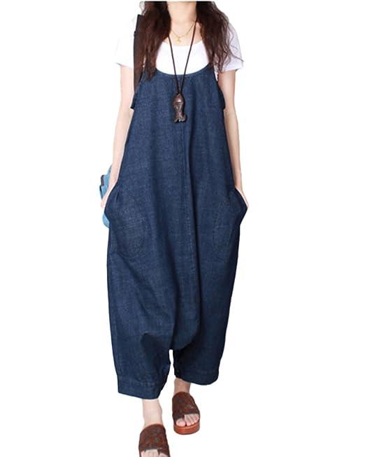 ShiFan Vestido Peto Vaquero Mujer Mono Largo Fiesta Pantalones De Harén Mezclilla Azul S