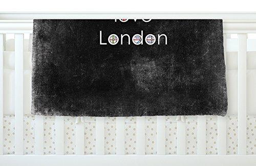 40 x 30 KESS InHouse Ingrid Beddoes I Love London Black Grundge Fleece Baby Blanket