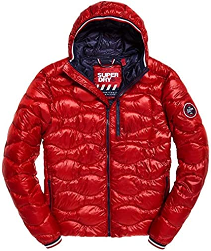 Superdry Men/'s Bright Red Wave-Quilted Full Zip Puffer Jacket M50017DR