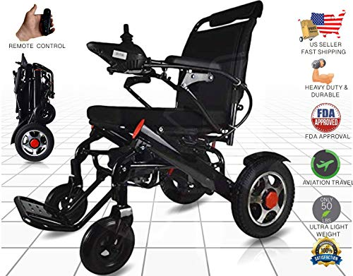 Ephesus M5 | New Model | Portable Mobility Electric Motorized Wheelchair, Lightweight Easy to Carry, 360° Remote Control | Premium Quality Lithium Battery Included | Long Mileage Range (Black)