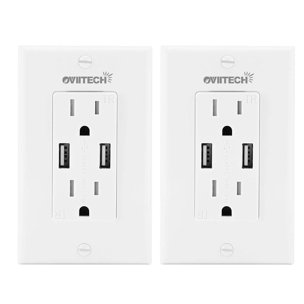 OviiTech 2.4 AMP Dual Smart High Speed Wall Mount Charger USB Outlet,15A Tamper Resistant Receptacle, 2 Wall Plate Included,2 Pack, White