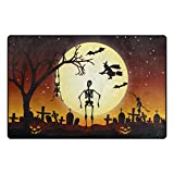 Cooper girl Full Moon Halloween Modern Decorative Area Rug Pad Floor Mat for Living Dining Room Bedroom 60x39&31x20 Inch