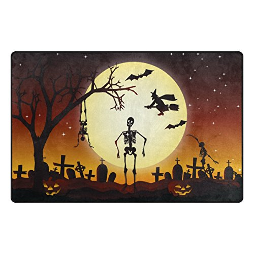 Cooper girl Full Moon Halloween Modern Decorative Area Rug Pad Floor Mat for Living Dining Room Bedroom 60x39&31x20 Inch by Cooper girl