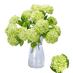 """Greentime Mini Artificial Flowers 13"""" Silk 7 Head Tiny Fake Hydrangea Bouquet for Wedding, Room, Home, Hotel, Party Decoration (Green) 95"""