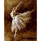 YEESAM ART New Release Paint by Number Kits for Adults Kids - Ballet Dancer Queen 16x20 inch Linen Canvas without Wooden Frame