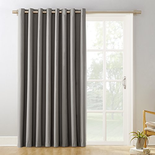 Sun Zero Easton Extra-Wide Blackout Sliding Patio Door Curtain Panel with Pull Wand, 100 x 84, Gray