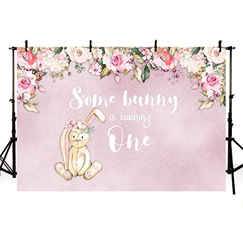 MEHOFOTO 7x5ft Cute Easter Bunny 1st Birthday Party Backdrop Pink Flowers Rabbit Some Bunny One Photography Background Photo Banner Poster]()