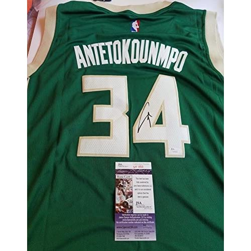 new concept 404e9 61973 Giannis Antetokounmpo Signed Jersey - JSA Authentic ...