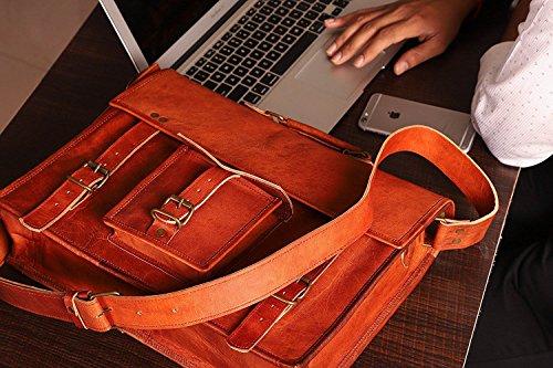 Sac à bandoulière 100% cuir véritable pour ordinateur portable – Unisexe – CLASSYDESIGNS