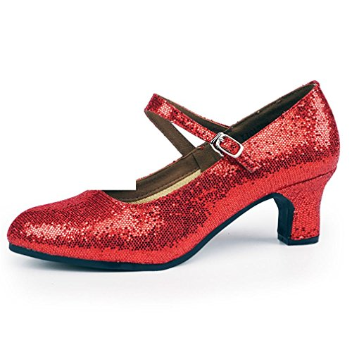 Dance Soft Jazz end The Adult Dance BYLE 3 Samba Onecolor Shoes Female with Shoes Ankle Red Leather Latin Shoes at 5CM Strap Women's of Modern Sandals The RxxwvYqOA
