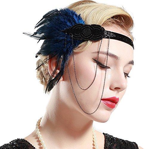 BABEYOND 1920s Flapper Headband Roaring 20s Great Gatsby Headpiece Beaded Feather Headband 1920s Flapper Gatsby Hair Accessories Blue