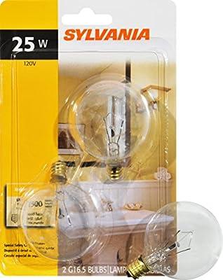 GE Lighting Crystal Clear 17722 25-Watt, 195-Lumen G16.5 Light Bulb with Candelabra Base, 2-Pack
