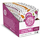 Veggie-Go's Organic Fruit and Veggie Bites with No Added Sugar, Strawberry, Chia Seeds, Beets, 12 Count