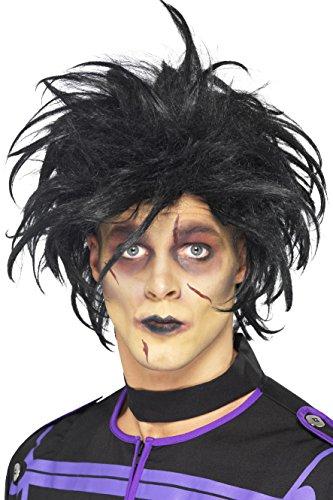 Smiffy's Men's Psycho Wig, Wacky Black Hair, One (Wacky Halloween Costumes)