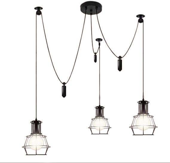 RUNNUP Vintage Ajustable Techo Iluminación Araña Lámpara