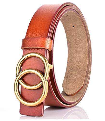 - Double O-Ring Gold Buckle Unisex Cowhide Leather Belt Vintage Thin Dress Belts For Jeans(Light tan-1.1