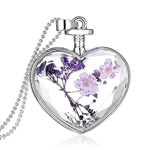 Womens Charm Purple Lavender Real Dried Floral Glass Crystal Cabochon Pendant Long Chain Necklace