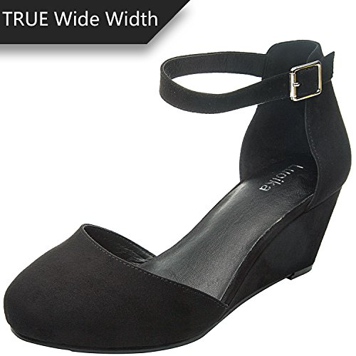 Luoika Women's Wide Width Mini Wedges - Comfortable Mid Low Heel Ankle Buckle Strap, Plus Size Round Closed Toe.(180323,Black,size9.5)