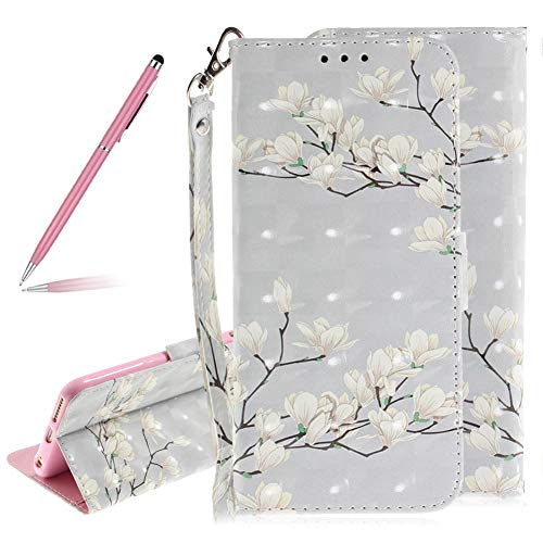 3D Colorful Painted Magnolia Flowers Pattern Soft PU Leather Case for iPhone 6S,SKYXD Luxury Shiny Flip Folio Wallet Magnetic Closure with Kickstand Feature with Wrist Strap for iPhone 6/6S 4.7