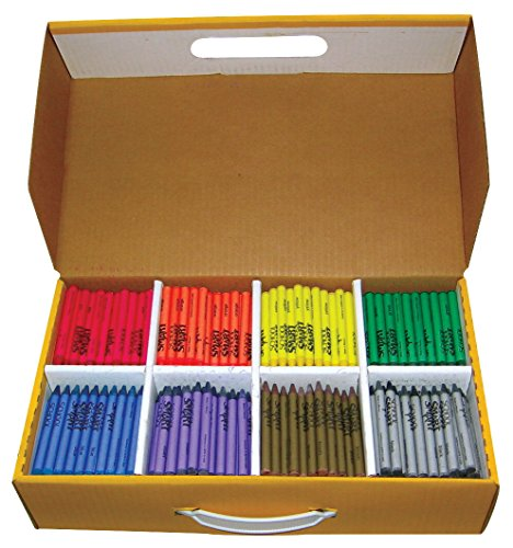School Smart Standard Non-Toxic Crayons Classroom Pack - 3 1/2 x 5/16 inches - Set of 800 - 100 Each of 8 Assorted - Crayon Set Standard