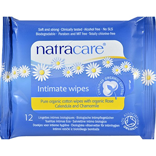 NATRACARE Wipes,Intimate,Cotton, 12 CT (Pack of 6) (Feminine Natracare Wipes)
