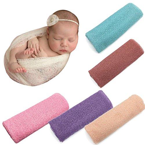 Makaor Long Ripple Wrap, DIY Newborn Baby Photography Wrap-Baby Photo Props Favors Baby Girl Boy Hollow Wraps Blanket (Blue, Size: 50cmx160cm/19.7x63Inch)
