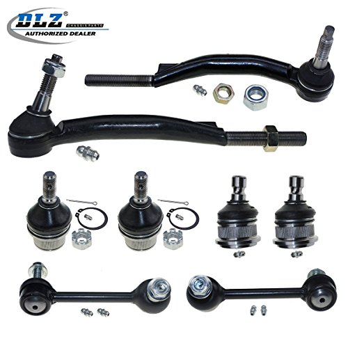 DLZ 8 Pcs Suspension Kit-Lower Upper Front Ball Joint Outer Tie Rod End Rear Sway Bar Compatible with Chevrolet Trailblazer,GMC Envoy,Isuzu Ascender, Oldsmobile Bravada, Saab 9-7x(16mm Threads -