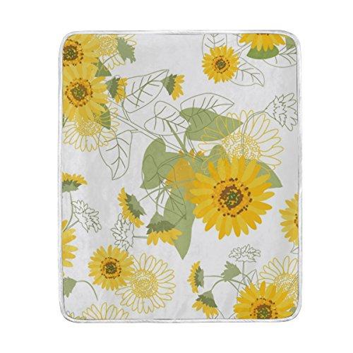 U LIFE Small Yellow Sunflowers Floral Soft Fleece Throw Blan