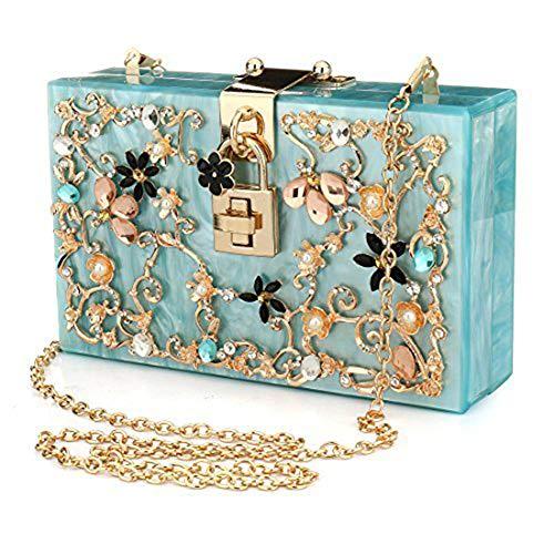 EROUGE Acrylic Clutch Purse Floral Beaded Handbags Women Pearls Evening Clutch