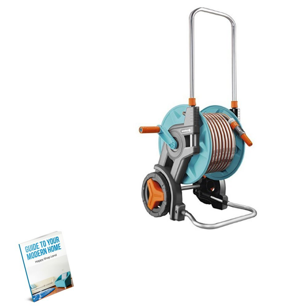 Portable Hose Reel Cart, Comfortable Handle, Steel Material, Blue Color, 2-Wheeled, Easy Transportation, Lightweight, Great Capacity, Sturdy And Durable Construction & E-Book
