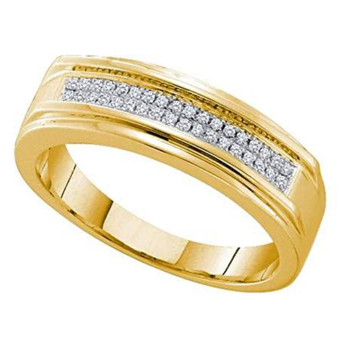0.12 Carat (ctw) 10k Yellow Gold Round Diamond Men's Hip Hop Micro Pave Band Anniversary Ring by DazzlingRock Collection
