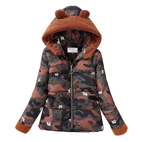CAMOUFLAGE Winter Down Short Snowy Hooded Jacket Slim Paragraph Women'S Coat XL Coat Jacket Warm 7Ta17